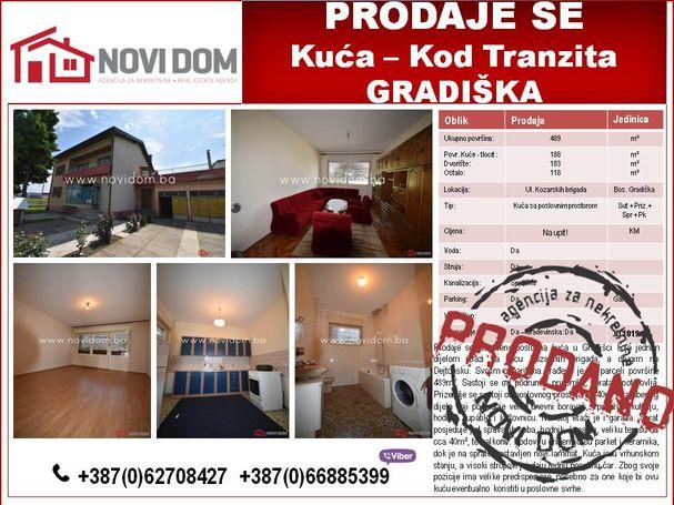 PRODANO! Kuća - Ul. Kozarskih brigada - Bosanska Gradiška