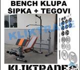 Bendz Klupa + Lat+Skot + Šipka +25kg Tegovi Bench Klupe